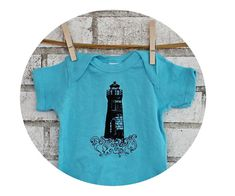Light Aquamarine Blue Short Sleeved Cotton Clothing Sea Ocean 6 Month READY  to SHIP Lighthouse Baby Onepiece Screenprinted Infant Clothing