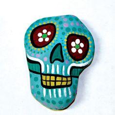 Light Blue Dia De Los Muertos Skull Paperweight by TangosCorner, $30.00