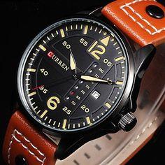 Belles montres, Curren mens montres Relógio sport module temps montres à quartz aiguilles lumineuses jour le jour regarder en cuir de…