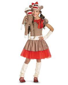Sock Monkey Girls Costume