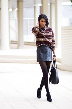 Leather Skirt + Chunky Sweater
