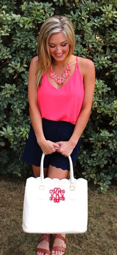 Spice up your Spring wardrobe this year with our Monogrammed Scalloped Tote Purse from marleylilly.com! Outfit is LIVE NOW from mondaydress.com! #spring #pop #Summerdays #sunnyand75