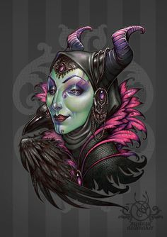 Mistress of Evil - It's hard to be green MALEFICENT witch DinA4 8x11'' print - hand signed print. High Quality 350g matte couche paper