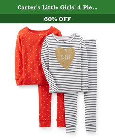 Carter's Little Girls' 4 Piece Striped PJ Set (Toddler/Kid) - Heart - 4. Carter's 4 Piece Striped PJ Set (Toddler/Kid) - Heart Carter's is the leading brand of children's clothing, gifts and accessories in America, selling more than 10 products for every child born in the U.S. Their designs are based on a heritage of quality and innovation that has earned them the trust of generations of families. Includes 2 long-sleeve tops and 2 long bottoms. Cool and comfortable ribbed cotton…