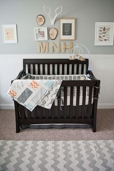 antique  Boy Nursery | Nursery Inspiration: Grey, cream, orange and blue baby boy nursery ...