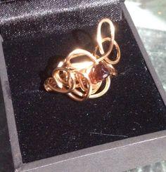 Briolette Garnet copper wire wrapped ring