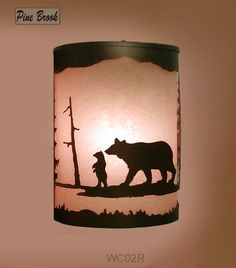 Rustic Lighting Bronze Wall Sconce Bear Light Right Facing Cabin Decor Lamp | eBay