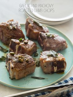 Garlic and Anchovy Roasted Lamb Chops with a Castelvetrano + Sage Browned Butter Sauce