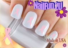 "Nail Art Decals and Decoration Stickers 20 ""Breast Cancer Ribbon 2"" Lt Pink SINGLE Image Water Slide Transfer Manicure Nail Art Accessories by NailFun2U on Etsy https://www.etsy.com/listing/186719472/nail-art-decals-and-decoration-stickers"