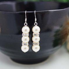 Sweet Crystal white Swarovski Pearls with rhinestone rondelles Bridal Bridesmaid Earrings