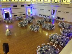 Soldiers & Sailors Memorial Hall & Museum | Pittsburgh Wedding Venue | Wedding Reception | Grand Ballroom | Historic Wedding | September Wedding | Charcoal Gray, Navy and White Wedding | Michelle & Ryan | Blue Uplighting | Garden Chairs | Square and Round Guest Tables