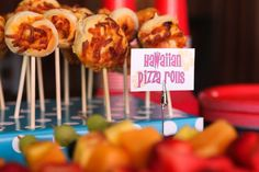 "First Birthday Party - Results of my Pinning: Pizza ""Pops"". Since it was a surfer themed party we made Hawaiian pizza with ham and pineapple."