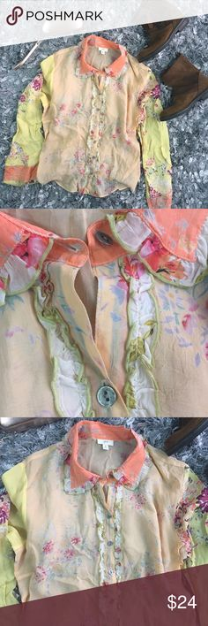 Country Chic Pastel Floral Ruffle Top J. Jill Sz M Gorgeous lightweight buttery soft floral blouse from J. Jill; Rayon Material; size Medium J. Jill Tops Blouses