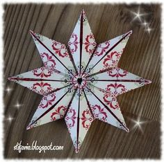 I once again found a folding instruction for a star :) Christmas . Origami Diy, Origami And Quilling, Origami Tutorial, Origami Paper, Polish Christmas, Christmas Love, Paper Ornaments, Christmas Ornaments, Paper Stars