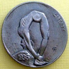 ALAN CHERNOMASHENTSEV HOBO NICKEL - FLEXIBILITY - 1936 BUFFALO NICKEL Hobo Nickel, Coin Art, Effigy, Metal Art, Flexibility, Erotic, Coins, Carving, Disability