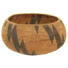 Early Native American Indian Basket - like the simplicity of this.... Strikes me as a lightening motif...