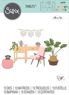 Create projects all about home sweet home with the Urban Interiors Thinlits Die Set designed by Olivia Rose for Sizzix. The set includes 13 thin metal dies in Sizzix Dies, Olivia Rose, Cross Stitch Supplies, Craft Materials, Crafty Projects, Rose Design, Scrapbook Pages, Scrapbooking, Cardmaking