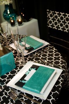 Table Top Design with Custom Quatrefoil Linen and Turquoise Accents by Lindsay Landman Events, Photo by Sharon Schuster