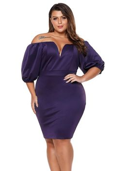5779e97954 Short Puff Sleeve Plus Size Bodycon Dress. Intuitive Fashions