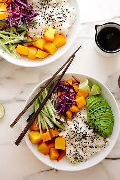 Beet + Mango Rice Bowls with Sesame Ginger Vinaigrette