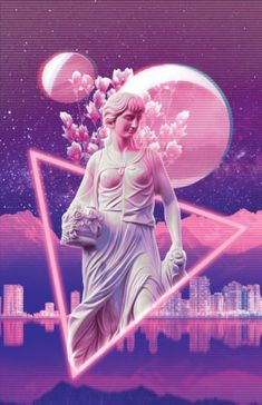 vaporwave DESIGN- The texture created by the background and the way the statue is being contained would solve the issues I am having with my own design Vaporwave Wallpaper, Wallpapers Tumblr, Tumblr Wallpaper, Diy Wallpaper, Wallpaper Backgrounds, Iphone Wallpaper, Graphic Design Posters, Graphic Design Inspiration, Aesthetic Backgrounds