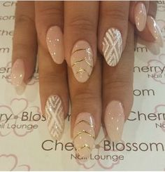 Nude Color with Design in Almond Shape.