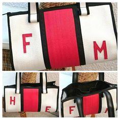 Tasche aus Feuerwehrschlauch weiß/rot Einzelstück
