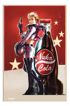 Fallout 4 Nuka Cola Girl & Bottle Poster | iPosters