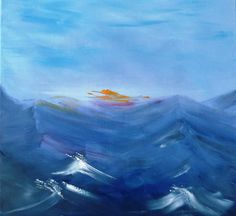 """Seascape, Blue Painting, Modern art, Abstract Painting on Canvas, Contemporary Art, Original Art, FREE SHIPPING, """"Delos """" Greek Islands"""