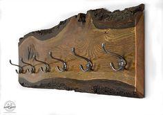 Live Edge porte-manteau bois Chêne - rustique patères crochets à vêtements - bois récupéré - Hall d'entrée - organisation - crochets clés - Log Cabin Decor Ce manteau en bois et un organisateur clé a été créé d'une dalle bois chêne avec bord écorce vivante et est un excellent moyen
