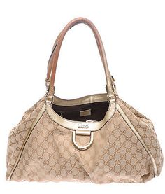 Gucci Gold GG Canvas & Leather D Ring Tote W/ Gold-Tone Hardware