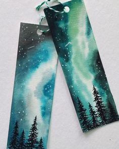 Watercolor Bookmarks by The Fleur Wreath (@thefleurwreath on Instagram) Tattoo Watercolor, Watercolor Trees, Watercolor Landscape, Watercolor Animals, Watercolor Background, Abstract Watercolor, Watercolor Illustration, Watercolor Galaxy, Mountains Watercolor