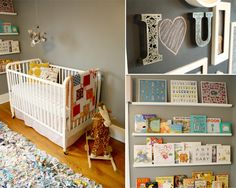 super sweet vintage nursery with chalkboard wall and book displays. Love it!