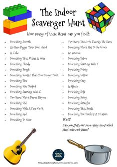 indoor scavenger hunt for kids Free Printable Scavenger Hunt - Perfect for a rainy day or when you are stuck indoors! Indoor Activities For Kids, Summer Activities, Preschool Activities, Nanny Activities, Games For Preschoolers Indoor, School Holiday Activities, Indoor Games For Kids, Fun Games For Kids, Kids Fun