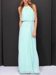 Mint Green Pink Cut Away Pleated Chiffon Maxi Dress | Choies