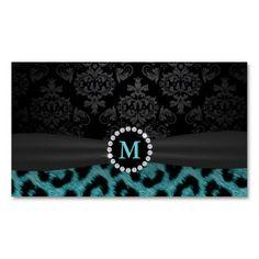 Modern Monogram Teal Leopard Print Makeup Artist Business Card Template