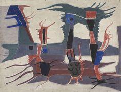 Compositie vrije vormen - E. Majoor - 1940-1954  Maat: 63cm x 82cm  Materiaal: tempera op paneel (board)  Inventarisnummer: SZ6346
