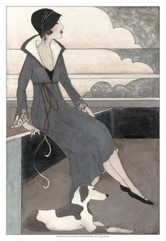 Art Deco Lady With Dog Posters by Megan Meagher at AllPosters.com
