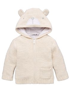 Ladybird Baby Unisex Bear Applique Hooded Cardigan | littlewoods.com