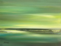 ARTFINDER: Green Shore by Beata Belanszky Demko - Original oil painting on 30 x 40 cm canvas. Painted with brush and palette knife. The horizon is a bit textured. The sides of the canvas are painted so it ca...