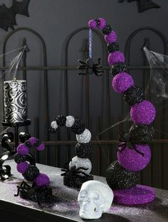 Disney and tim burtons nightmare before christmas inspired mason monsters and maidens ball goosebump tree amazing black and purple decor these would be awesome as centerpieces for my halloween wedding hallowedding junglespirit Choice Image