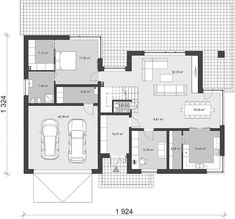 Projekt domu uA14v1 219,92 m2 - koszt budowy - EXTRADOM House Plans, Floor Plans, House Design, How To Plan, Projects, Home, Home Architecture, Detached House, Blueprints For Homes