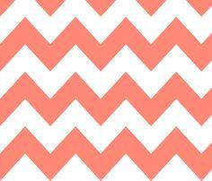Coral Chevron fabric by newmom on Spoonflower - custom fabric
