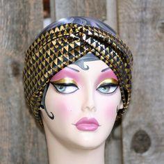 black and gold turban headband by woodgraingoods on Etsy