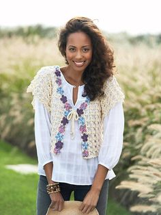 A classic cardigan like this never goes out of style. Use our free crochet instructions and patterns to add this multicolor piece to your wardrobe.