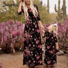 5cf819edacc355 Family matching Mommy daughter Floral print long dress