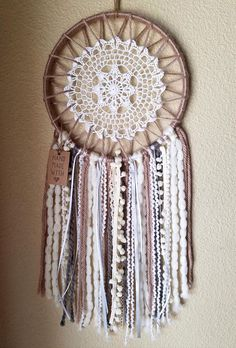Items similar to Boho Dreamcatcher - Neutral Tones on Etsy Sun Catchers, Lace Dream Catchers, Dream Catcher Decor, Dream Catcher Boho, Wreath Crafts, Flower Crafts, Crochet Projects, Sewing Projects, Diy And Crafts