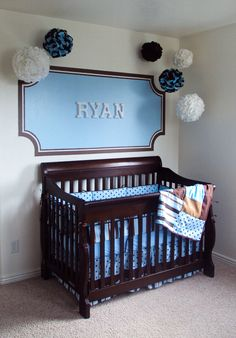 Boy nursery- minus the hanging stuff, but putting the name like that