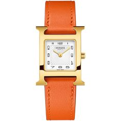 Hermes Heure H PM Watch with Orange Leather Strap ($2,625) ❤ liked on Polyvore featuring jewelry, watches, stainless steel wrist watch, quartz movement watches, golden watches, stainless steel jewelry and yellow jewelry
