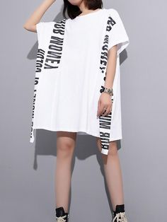 New Spring Summer Round Neck Long Sleeve Black Letter Printed Back Mesh Irregular Big Size T-shirt Women Fashion Moda Outfits, Cotton Style, One Piece Swimwear, Dress First, White Fashion, Couture, Short Sleeve Dresses, Long Sleeve, Shirt Dress